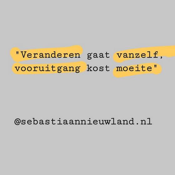 """""""Veranderen gaat vanzelf, vooruitgang kost moeite"""" @sebastiaannieuwland.nl"""